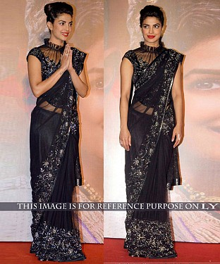 BLACK THREAD WORK NET BOLLYWOOD DESIGNER SAREE @ Rs2100.00
