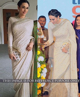 OFF WHITE THREAD WORK GEORGETTE & NET BOLLYWOOD DESIGNER SAREE @ Rs2657.00