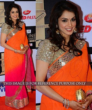 ORANGE & PINK MULTY WORK GEORGETTE BOLLYWOOD DESIGNER SAREE @ Rs2100.00