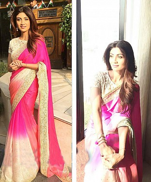 PINK & OFF WHITE MULTY WORK GEORGETTE BOLLYWOOD DESIGNER SAREE @ Rs1915.00