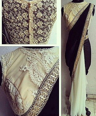 BLACK & OFF WHITE THREDWORK VELVET & CHIFON GEORGETTE HALF AND HALF BOLLYWOOD DESIGNER SAREE @ Rs2100.00