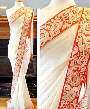 OFF WHITE MULTY WORK GEORGETTE BOLLYWOOD DESIGNER SAREE @ Rs2100.00