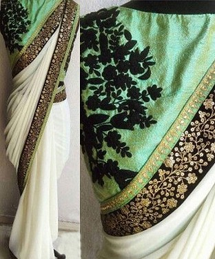 WHITE MULTY WORK GEORGETTE BOLLYWOOD DESIGNER SAREE @ Rs1730.00