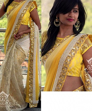CREAM & YELLOW MULTY WORK GEORGETTE & RUSSAL NET HALF AND HALF BOLLYWOOD DESIGNER SAREE @ Rs2100.00