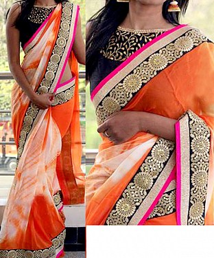 ORANGE & OFF WHITE MULTY WORK PRINT BOLLYWOOD DESIGNER SAREE @ Rs2100.00