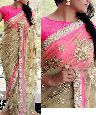 BEIGE MULTY WORK NET BOLLYWOOD DESIGNER SAREE @ Rs2657.00