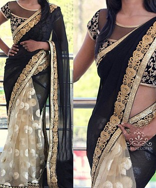 CREAM & BLACK MULTY WORK GEORGETTE & NET HALF AND HALF BOLLYWOOD DESIGNER SAREE @ Rs2657.00