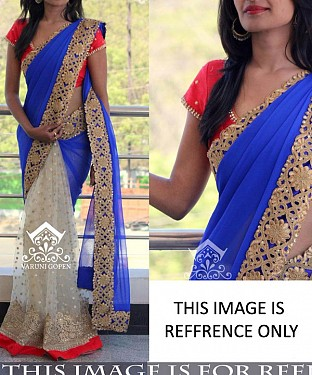 CREAM & BLUE MULTY WORK GEORGETTE & NET HALF AND HALF BOLLYWOOD DESIGNER SAREE @ Rs2286.00