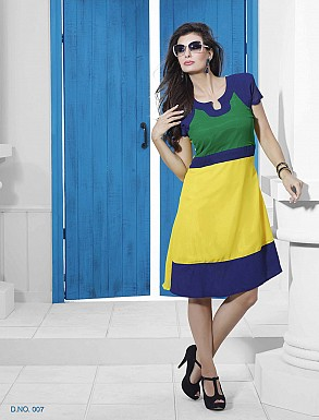 THANKAR GREEN & YELLOW DESIGNER STITCHED KURTI @ Rs988.00