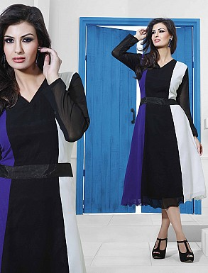 THANKAR BLACK & BLUE DESIGNER STITCHED KURTI @ Rs988.00