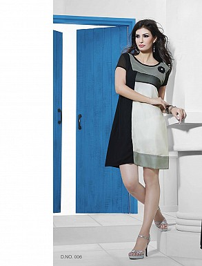 THANKAR BLACK & WHITE DESIGNER STITCHED KURTI @ Rs988.00