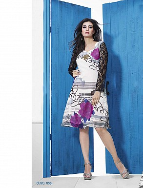 THANKAR WHITE DESIGNER STITCHED KURTI @ Rs988.00