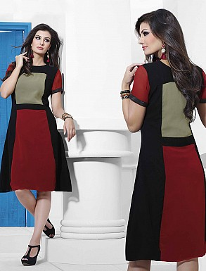 THANKAR RED & WHITE DESIGNER STITCHED KURTI @ Rs988.00