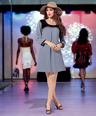 GREY DESIGNER STITCHED KURTI @ Rs1112.00