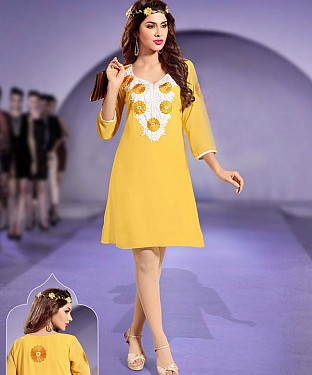 YELLOW DESIGNER STITCHED KURTI @ Rs1112.00