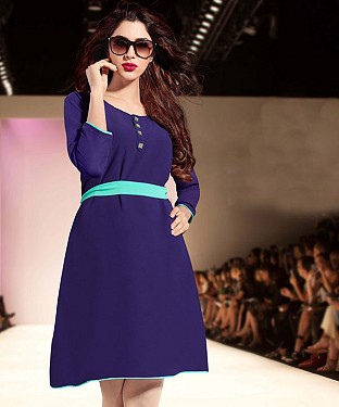 NAVY BLUE DESIGNER STITCHED KURTI@ Rs.1112.00