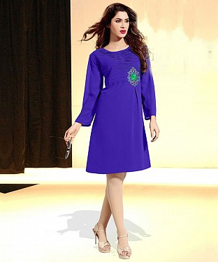 BLUE DESIGNER STITCHED KURTI Buy Rs.1112.00