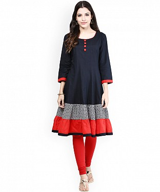 NAVY BLUE DESIGNER STITCHED KURTI @ Rs741.00