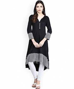 BLACK DESIGNER STITCHED KURTI @ Rs741.00