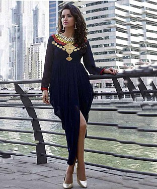NAVY BLUE DESIGNER STITCHED KURTI @ Rs926.00
