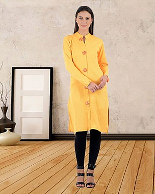 YELLOW PRINTED STITCHED KURTI @ Rs741.00