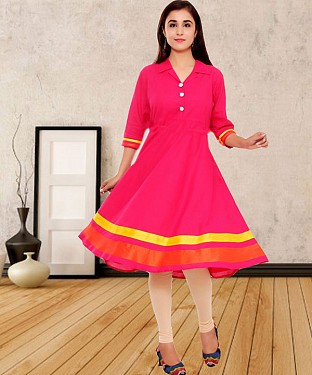 PINK PRINTED COTTON STITCHED KURTI @ Rs555.00