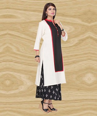 BLACK & WHITE DESIGNER COTTON STITCHED KURTI@ Rs.679.00