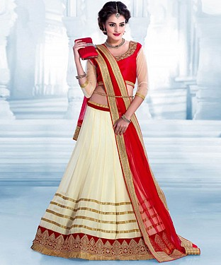 NEW ATTRACTIVE OFF WHITE AND RED HEAVY EMBROIDERY LEHENGA @ Rs1112.00