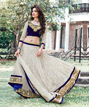 Off White Latest Arrival Designer Lehenga Choli @ Rs1235.00
