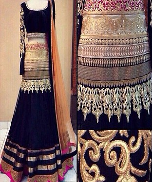 Latest Arrival Designer Black Lehenga Choli @ Rs1606.00