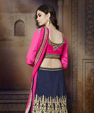 PINK & NAVY EMBROIDERED BANGLORI  SILK  DESIGNER LEHENGA @ Rs6056.00