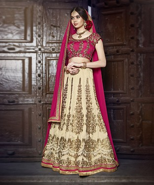 PEACH & CREAM EMBROIDERED BANGLORI  SILK  DESIGNER LEHENGA @ Rs6056.00