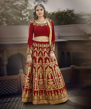 RED & BEIGE EMBROIDERED BANGLORI  SILK  DESIGNER LEHENGA @ Rs6735.00