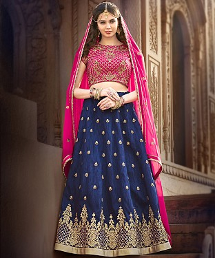 PINK & NAVY EMBROIDERED BANGLORI  SILK  DESIGNER LEHENGA @ Rs4943.00