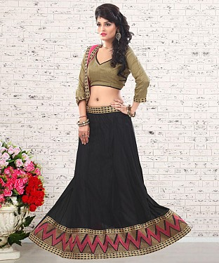 Black & Beige  Embroidered  Net Designer Lehengha @ Rs1050.00
