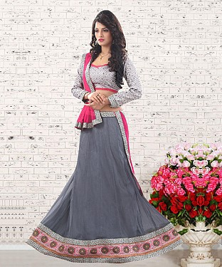 Grey & Pink  Embroidered  Net Designer Lehengha @ Rs1050.00
