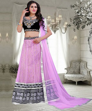 Black & Light Purple  Embroidered  Net Designer Lehengha @ Rs2100.00