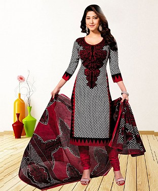 RED AND BLACK PRINTED POLYCOTTON  DRESS MATEIRIAL @ Rs679.00