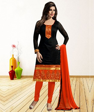 BLACK AND ORANGE PRINTED POLYCOTTON  DRESS MATEIRIAL @ Rs679.00