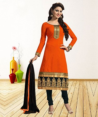 ORANGE AND BLACK PRINTED POLYCOTTON  DRESS MATEIRIAL @ Rs679.00