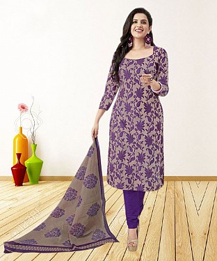 PURPLE AND BEIGE PRINTED POLYCOTTON  DRESS MATEIRIAL @ Rs679.00