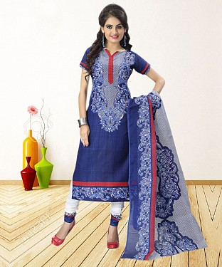 BLUE PRINTED POLYCOTTON  DRESS MATEIRIAL @ Rs679.00