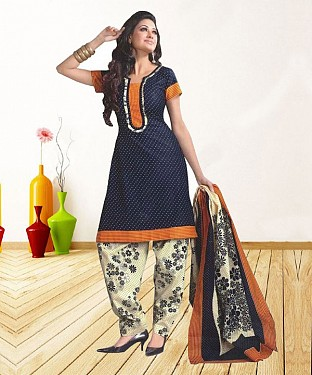 NAVY BLUE AND CREAM PRINTED POLYCOTTON  DRESS MATEIRIAL @ Rs679.00