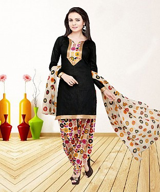 BLACK AND MULTY PRINTED POLYCOTTON  DRESS MATEIRIAL @ Rs679.00