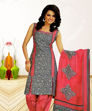 GREY AND PINK PRINTED POLYCOTTON  DRESS MATEIRIAL @ Rs679.00