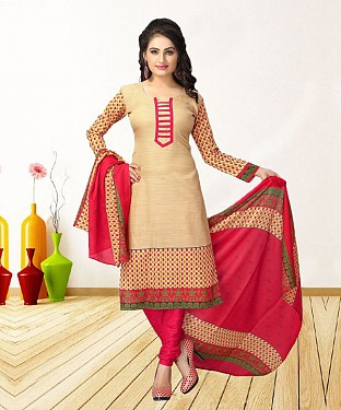 CREAM AND PINK PRINTED POLYCOTTON  DRESS MATEIRIAL @ Rs679.00