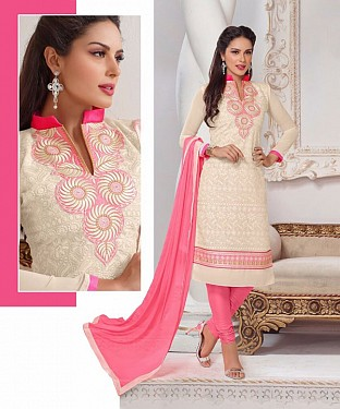 CREAM AND PINK EMBROIDERED COTTON DRESS MATEIRIAL @ Rs1235.00