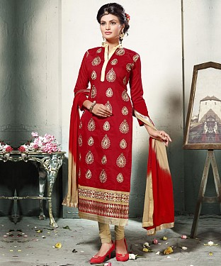 MAROON AND CREAM EMBROIDERED COTTON DRESS MATEIRIAL @ Rs1112.00