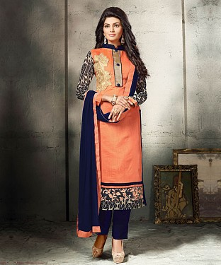 PEACH AND NAVY BLUE EMBROIDERED COTTON DRESS MATEIRIAL @ Rs1112.00
