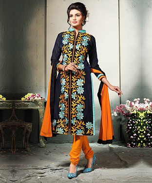 NAVY BLUE AND ORANGE EMBROIDERED COTTON DRESS MATEIRIAL @ Rs1112.00